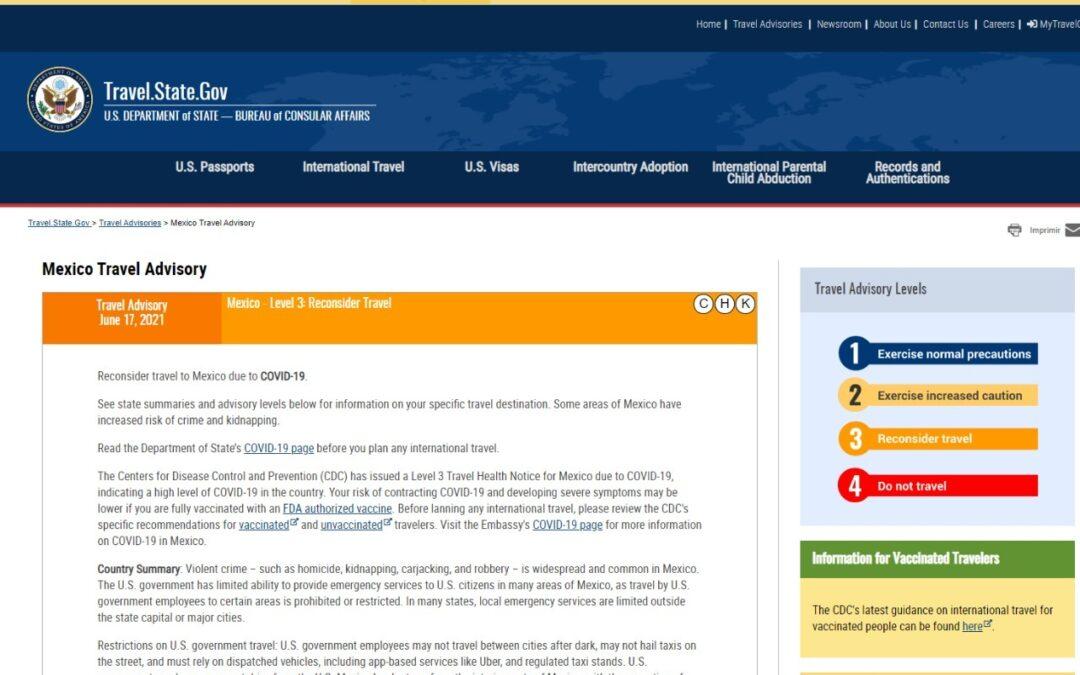 Baja gobierno de EUA riesgo de viaje a SLP: TURISMO